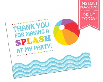 Pool Party Thank You Card - Printable Thank You Card - Birthday - Summer Party - Beach Party Thank You Note - Instant Download - LR1083