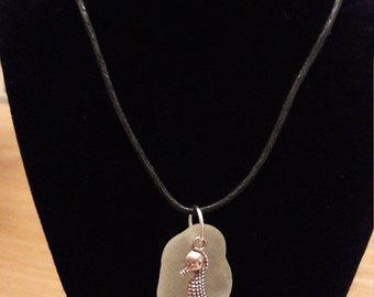 Genuine Sea Glass Necklace with Seahorse Charm