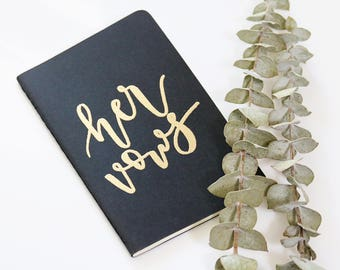 set of 2 calligraphy embossed black moleskin vows notebooks // her vows + his vows