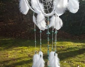 White & Turquoise Orbital Dream Catcher