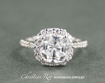 Cushion Cut Diamond Simulant Engagement Ring - Sterling Silver (#CRRMR172SS)