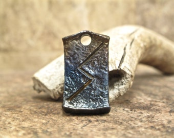 Hand-forged Sowilo Viking Celtic rune pendant -  artisan blacksmith key chain bag charm necklace gift idea