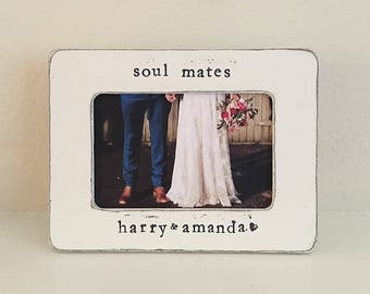 Soul mates picture frame, engagement frame, proposal, wedding frame, personalized picture frame Gift for couple, Bridal shower gift