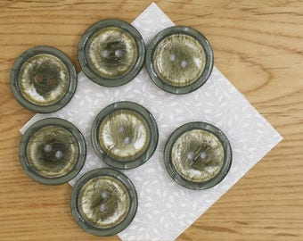 Pack of 6 large, green buttons, 22mm diameter each with 2 holes