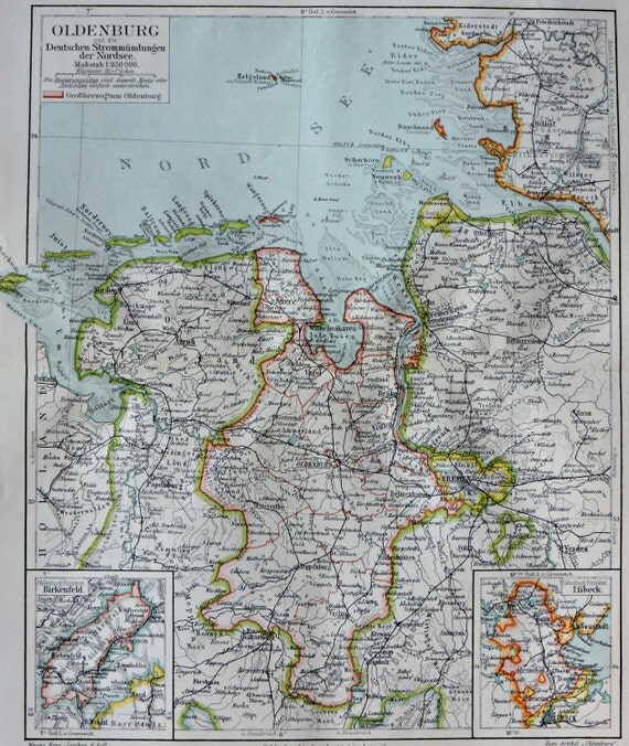 Duchy of Oldenburg map. Old book plate, 1904. Antique illustration. 112 years lithograph. 9'6 x 11'7 inches.