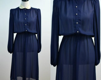 Vintage Peter Pan Collar 70s 1970s Donna Morgan for Non Stop Navy Sheer Vtg Pearlized Buttons Medium M Balloon Sleeves