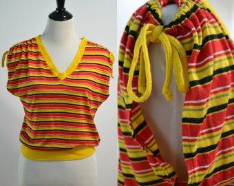 Medium | Small | Striped 90s Shirt | 1980s Vintage Top | Drawstring Shirt | V-Neck Shirt | Red Yellow Black | Knit Ups | Summer Open Top