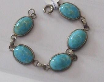 Vintage Bracelet Turquoise Colored Aqua Blue