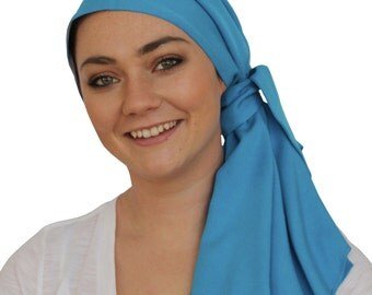 Jessica Pre-Tied Head Scarf, Women's Cancer Headwear, Chemo Scarf, Alopecia Hat, Head Wrap, Head Cover for Hair Loss - Turquoise