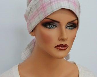 Gabrielle Flannel Head Scarf, A Women's Cancer Headwear, Chemo Scarf, Alopecia Hat, Head Wrap, Head Cover for Hair Loss, Gray and Pink Plaid
