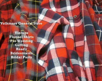 Wedding Getting Ready Bridal Bridesmaids Flannel Shirts Custom Order Oversized Boyfriend Style Hipster Grunge Look Comfort Casual Country