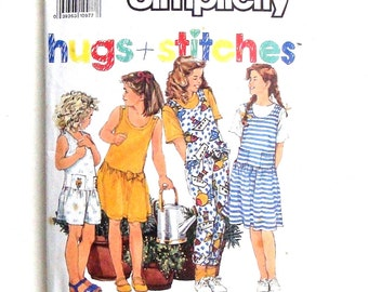 Simplicity Girls' Jumpsuit, Jumper and Top Sewing Pattern #7126 - Sizes Small (7), Med ( 8-10), Large (12-14)