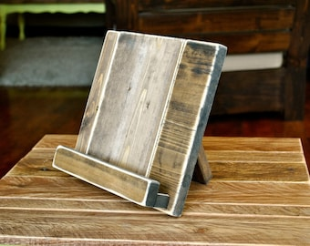 Distressed Wood iPad or Cookbook Stand for the Kitchen or Office - 3 SIZES AVAILABLE - Tablet or eReader Stand