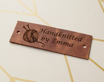 Personalized knitting labels, custom clothing labels, leather labels, care labels, Handmade custom label tags, set of 25
