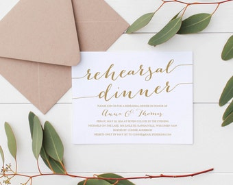 Gold Rehearsal Dinner Invitation Template, Rehearsal Dinner Invitation Instant Download, Printable Rehearsal Dinner Invitations, 5x7