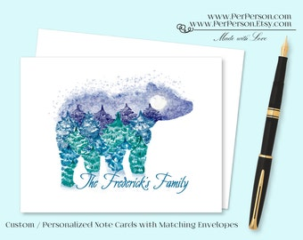 Free Ship!  Set of 12 Personalized / Custom Notecards, Boxed,  Bear, Landscape, greens & Blues, Blank Inside, Initials, Monogram, Name
