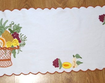Polish White Embroidered Table runner Basket exotic fruit Table Linen Tablecloth Embroidery dresser scarf Hand made White Table top Bohemian