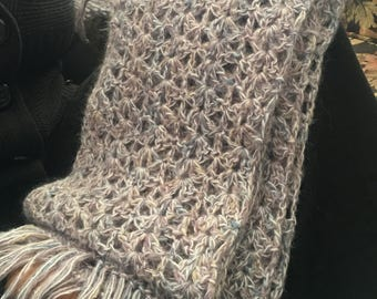 Hand Crocheted Mohair Shell Scarf