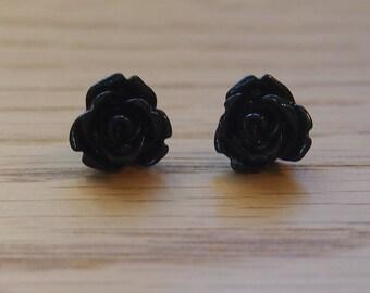 Little / tiny black rose earrings, resin rose earrings, surgical stainless steel