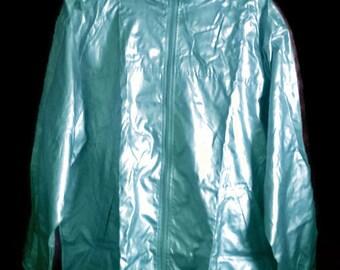 Vintage 90s WindbreakerSilver VINTAGE 90s WINDBREAKER Silver  Jacket Zip Up Windbreaker jacket Silver jacket L hooded raincoat Silver  L