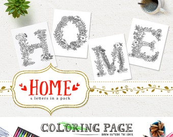 SALE Coloring Pages HOME Printable Alphabets Coloring Letters Adult Coloring Book Printable Instant Download Digital Coloring Page Download