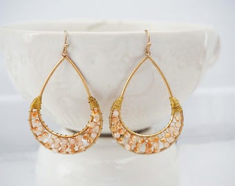 Champagne and Gold Teardrop Earrings