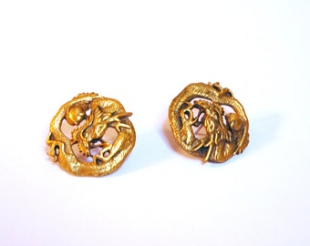 Vintage Dragon Earrings in Gold