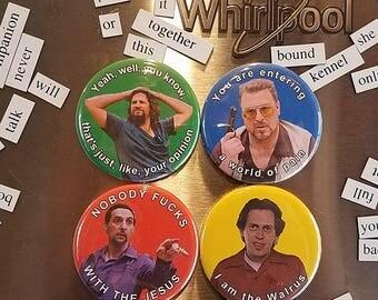 Set of 4 Big Lebowski pins/badges or magnets.