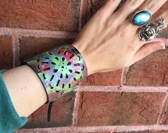 Rustic Bohemian Painted Leather Cuff Tie Bracelet