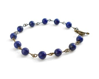Lapis Lazuli Bracelet in Antique Bronze, also available in Silver
