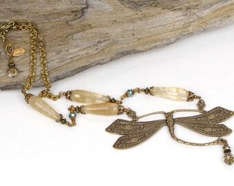 Boho Dragonfly Necklace, Boho Bridal Necklace, Bohemian Dragonfly Jewelry, Dragonfly Statement Necklace, Bohemian Bridal Jewelry