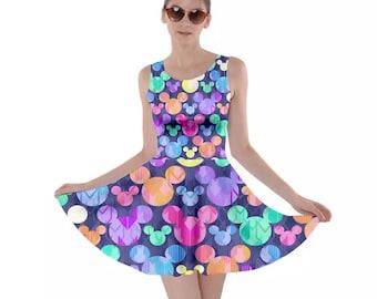Mickey Mouse Dress, Mickey Skater Dress, Mickey Multicolored Bright Arrow A-Line Dress