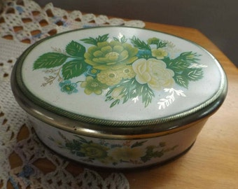 Meister Small Oval Tin Made in Brazil, Collectible, Decor, Storage Container, Floral Design