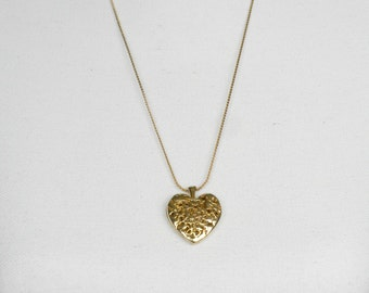 Long Heart Necklace, Filigree Heart Necklace, Heart Chain Necklace, Long Chain Necklace, Heart Jewelry, Filigree Jewelry, Gold Heart Pendant