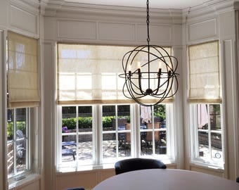 "Flat Sheer Linen Roman Shade ""Vincenzo Beige"" with chain mechanism, Linen Roman Shades, Window Treatments, Ready to made"