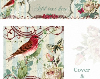 Merry Red Bird Cover and Shop Icon, instant download, blank, use for holidays or anytime by changing text, red bird, roses, vintage theme