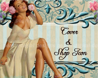 Pin up girl, Cover photo and shop icon, instant download, blank file, retro gal, floral pin up, aqua, pink, pretty girl, fancy embossed look