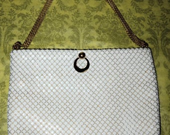 Vintage Whiting & Davis White Enamel Mesh Purse Shoulder Bag