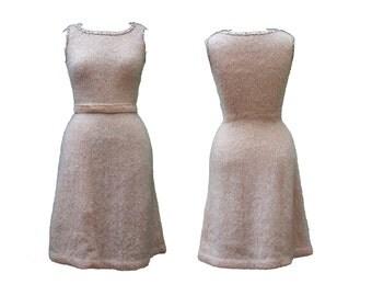 1960s Small Dress Petite Medium Beige Knit Sleeveless Wool Crochet Natural Bone Mod Cozy Winter Pin Up Rockabilly Office Business Casual