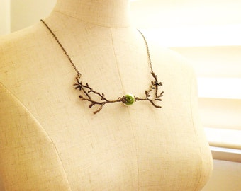 Twig & Moss Necklace, Bib Necklace, Statement Necklace, Chunky Necklace, Anthropologie Necklace, Popular Necklace, Enchanted Forest Jewelry