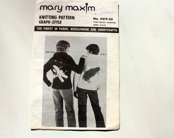 Mary Maxim 4219-20 Knitting Pattern / Mary Maxim Star Galaxy Cardigan