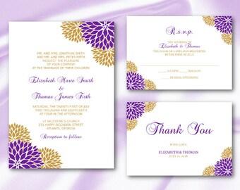purple gold wedding invitation suite templates elegant floral party invite set diy printable card - Purple And Gold Wedding Invitations