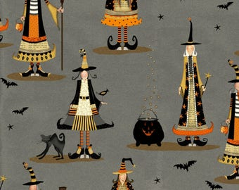 Grey Witch Fabric. Witchy. Studio E-Witch Fabric-Halloween Fabric-Fall Fabric-Halloween Quilt Fabric-Grey Witch Fabric-Witch Quilt Fabric.