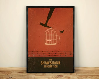 Shawshank Redemption Minimalist Movie Poster, Movie Art, Vintage Movie poster