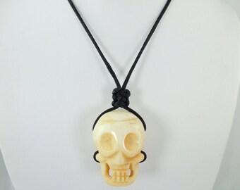 Bone Skull Pendant Necklace, Ox Bone, Genuine Bone, Carved Bone Necklace, Pendant, Adjustable, Slide Clasp, Black Cording