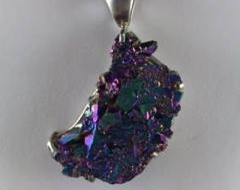 Turquoise and Purple Volcano Like Stone Necklace with Glittering Lava like Stones on Sterling Silver Mounting and Silver Rope Chain