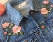 Flower Patch - Pink Flowers w. Long Stems - Hidden Moon & Stars -  Iron On Embroidered Patches - Set or Individually Sold