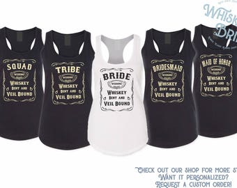 Whiskey Country Bachelorette Party Tank Top - Nashville  Tank Top - Whiskey Bent and Veil Bound Tank Top - Bride & Bridesmaid Shirt