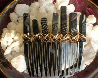 Mermaid Hair Accessory / Banded Black Agate Hair Comb / Boho Gypsy Wedding Hair Comb / Fairy Goddess Hair Comb / MADE TO ORDER