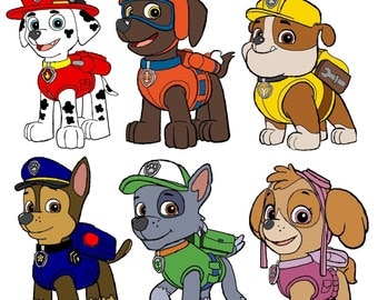 INSTANT DOWNLOAD Iron on - 6 Paw Patrol Fabric transfer- printable Tshirt design clipart Pillow Design -Tote designs